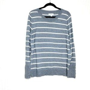 Kim Rogers Gray White Striped Sweater Size Large